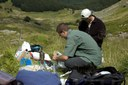 """""""Fontana del Vescovo"""" spring, particular of survey activity. Preparation of samples for laboratory analysis"""