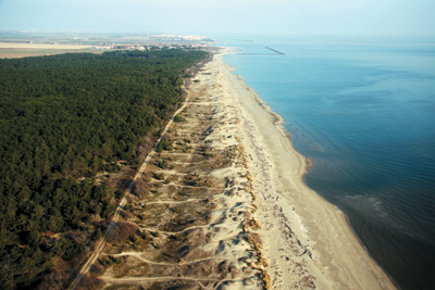 The Lido di Dante shoreline (Ravenna) still shows a fairly natural morphology, with sandy dunes behind the beach.