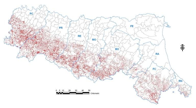 Landslides distribution in Emilia-Romagna