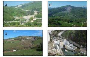 Some examples of landslide types in Emilia-Romagna: a: Slow earth flow in Solignano village (PR); b: Complex landslide in Corniglia village (PR); c: Roto-translational slide in Civitella village (FC); d: Rockfall in Monzuno village (BO.)