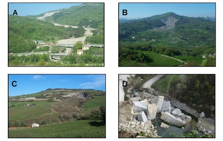 Some examples of landslide types in Emilia-Romagna