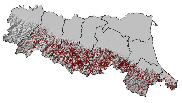 Location of reported landslides recorded in the catalogue up to 2005
