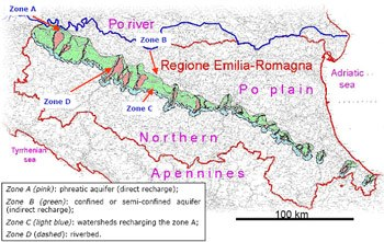 Drinking water protected areas in Emilia Romagna
