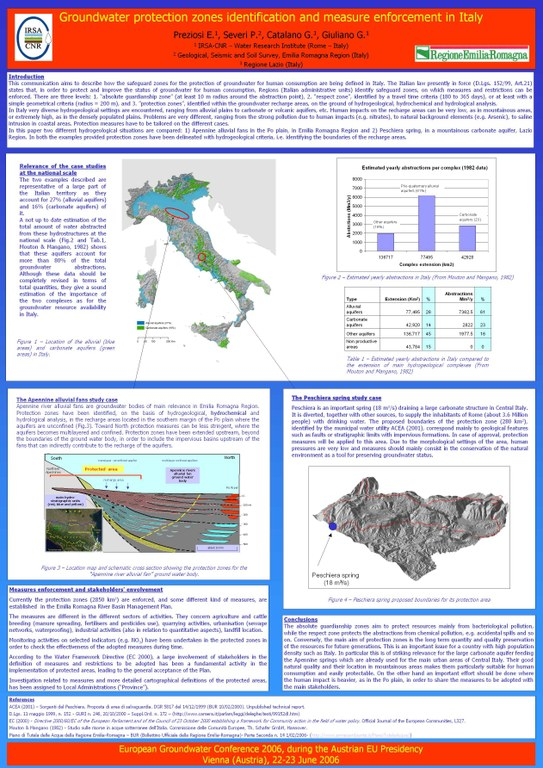 Poster Groundwater protection zones identification and measures enforcement in Italy