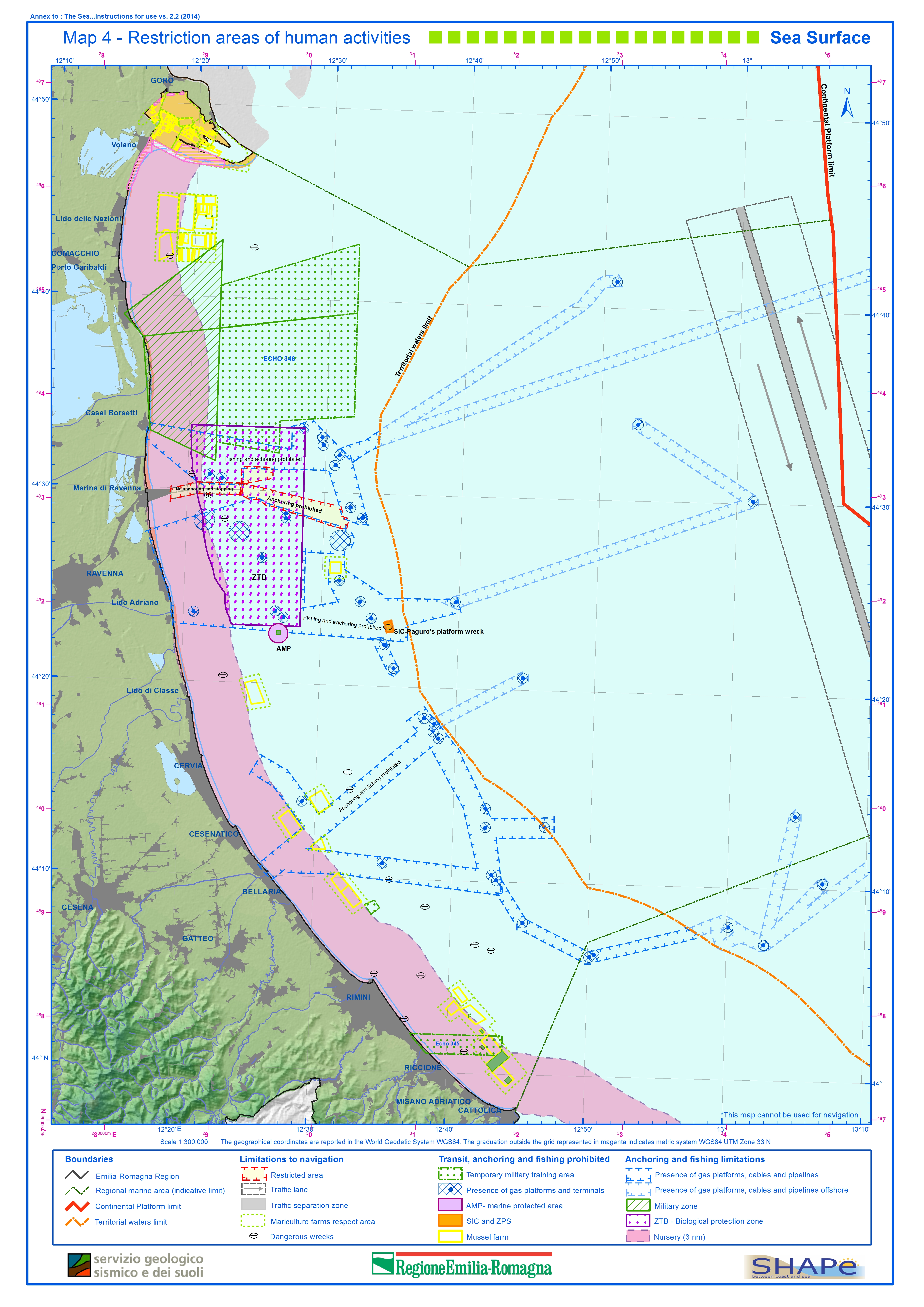Map 4 –Restriction areas of human activities – Sea Surface