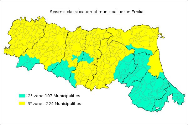 Seismic classification of municipalities in Emilia Romagna
