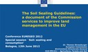 Thomas Strassburger - Special session Soil: sealing and consumption, 7°EUREGEO 2012