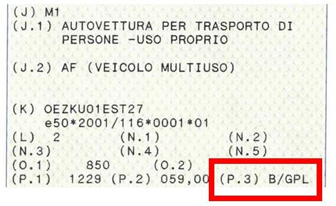 esempio di libretto di circolazione di auto bifuel alimentata a benzina/GPL ammissibile al contributo