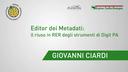 Giovanni Ciardi - Regione Emilia-Romagna - Editor dei Metadati: il riuso in RER degli strumenti di DigitPA