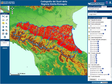 """Pagina iniziale del sito WEBGIS """"Cartografia dei Suoli"""""""