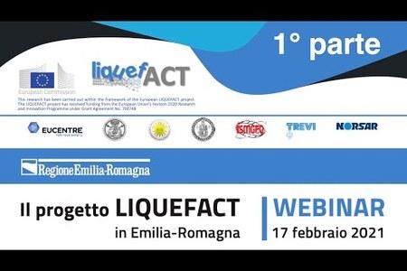 Il progetto LIQUEFACT in Emilia-Romagna | Registrazione webinar 1° parte | 17 febbraio 2021