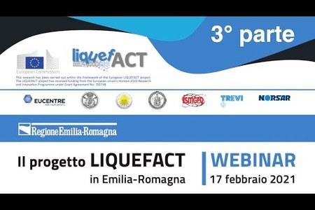 Il progetto LIQUEFACT in Emilia-Romagna | Registrazione webinar 3° parte | 17 febbraio 2021