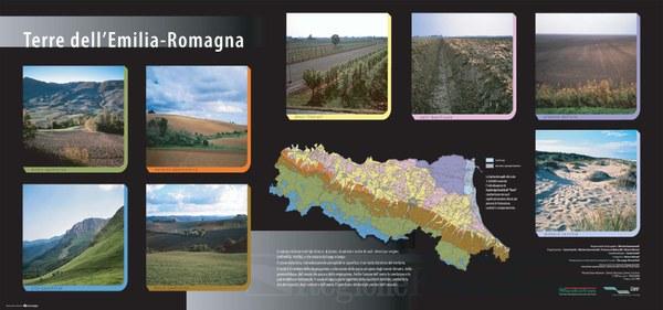 In Emilia Romagna sono presenti otto grandi unità di terre. Sono qui rappresentati i principali paesaggi e la loro distribuzione geografica nella regione.