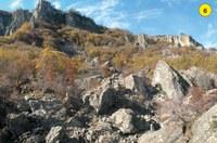 Una grande frana scende lungo il versante nord-orientale della Pietra: segnata in superficie da una lingua detritica, ha l'aspetto di una pietraia e si prolunga per quasi 1 km, sino alla frazione di Fontana Cornia. Verso l'alto si osserva l'ampio anfiteatro roccioso corrispondente alla nicchia didistacco. La frana è colonizzata da una vegetazione tipica delle zone detritiche e assolate, tra cui spiccano il pero corvino (Amelanchier ovalis), l'orniello (Fraxunus ornus), il maggiociondolo (Laburnum anagyroides) e la roverella (Quercuspubescens).