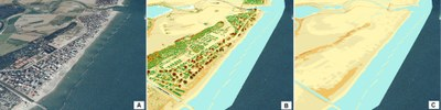 Esempio di rappresentazione 3D del tratto di costa a sud della Foce del Savio. A) Foto aerea, B) Modello Digitale di Superficie (DSM), C) Modello Digitale del Terreno (DTM).