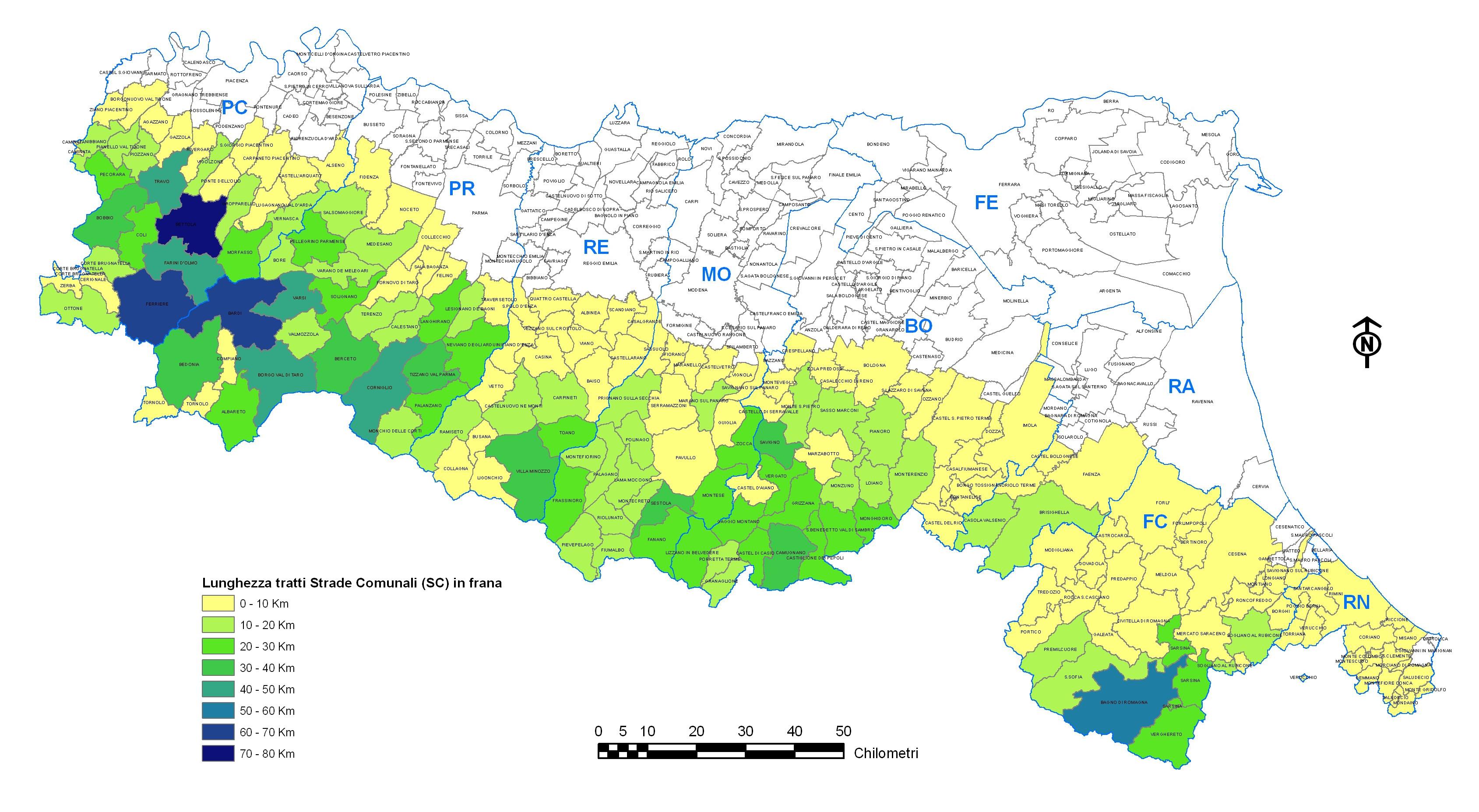 Cartina Comuni Emilia Romagna.Dati Sulle Frane Di Province E Comuni Italiano