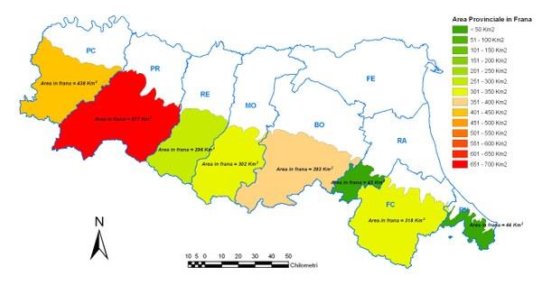 Figura 3 - Area interessata da frane nelle singole province