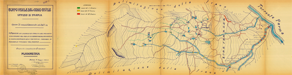 Corpo reale del genio civile di Parma, planimetria di Carobbio anno 1932
