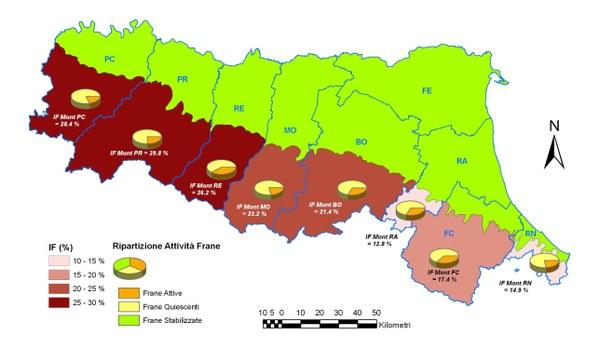 Figura 2 - Classificazione delle Province per Indice di franosità dell'area collinare e montana e suddivisione dei dissesti per stato di attività