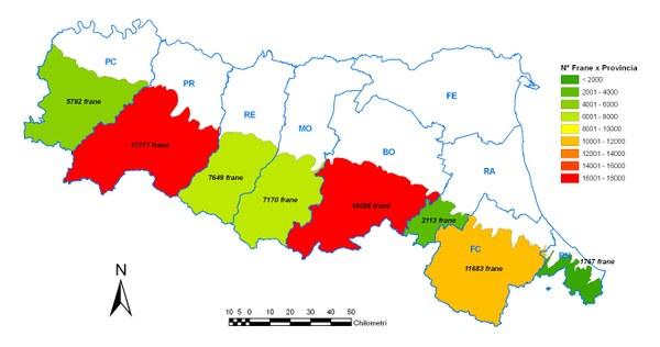 Figura 4 - Numero di frane per provincia, suddiviso per Stato di Attività