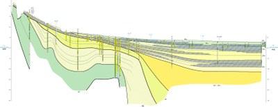 Figura 3. Sezione geologica del sottosuolo (margine appenninico, a sinistra e pianura padana, a destra) lunga c.a. 25 km