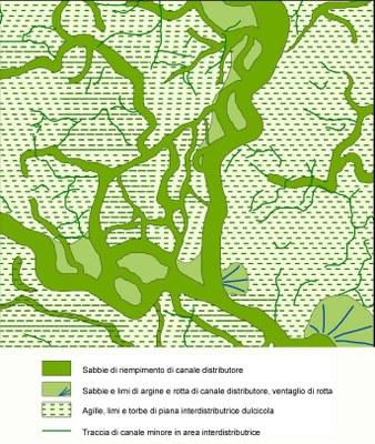 Figura 7. Cartografia delle litologie e degli ambienti deposizionali in una area del delta padano
