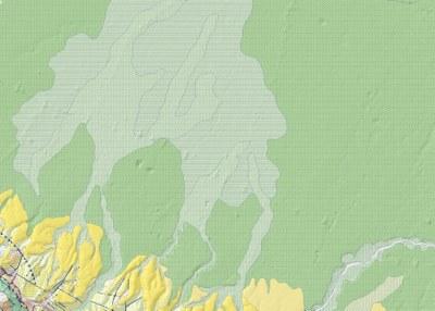 Carta geologica di superficie. In giallo i depositi marini e continentali Plio-Pleistocenici del margine appenninico, in verde i depositi della pianura Olocenica