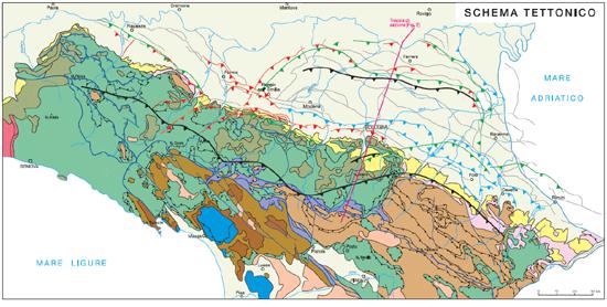Figura 1 : Schema tettonico dell'Appennino settentrionale(da Boccaletti et alii, 2004, modificata)