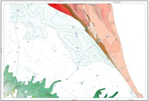 Carta geologica di sottosuolo (pianura costiera). Verde: ghiaie di canale fluviale, rosso e marrone: sabbie e ghiaie di cordone litorale, retino: argille organiche di palude-laguna