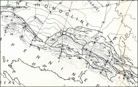 Figura 3 – Schema strutturale della pianura padana meridionale (Pieri e Groppi, 1981)