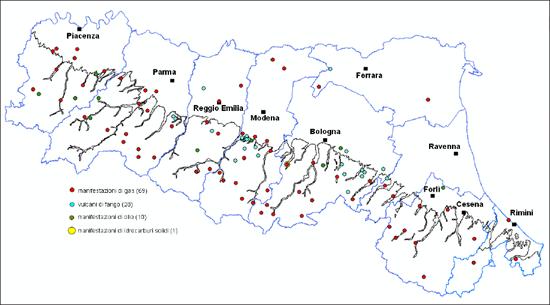 Figura 5 - Manifestazioni superficiali di idrocarburi in Emilia-Romagna (G. Martinelli et alii, 2012)