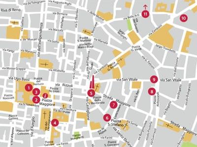 """mappa itinerario """"La geologia a Bologna"""""""