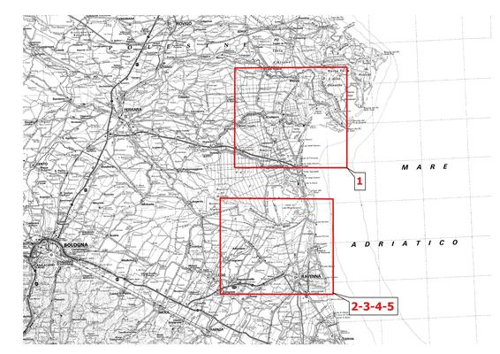 Nella mappa, è indicata con un box rosso l'ubicazione dei modelli 3d pubblicati. Il numero identifica i diversi modelli, elencati di seguito