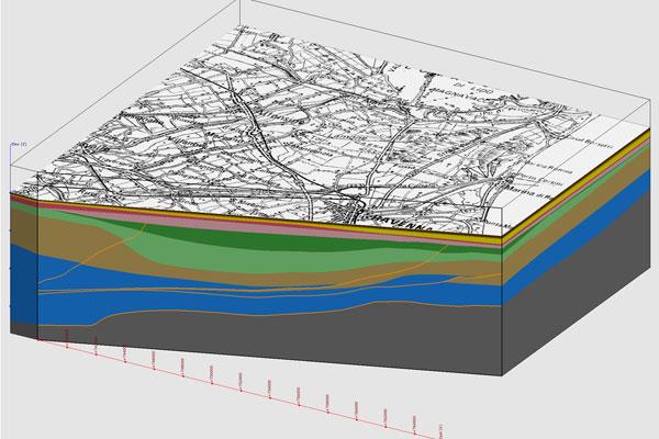 Questo modello rappresenta uno zoom sulla successione quaternaria più recente nei primi 400 metri del sottosuolo (unità AEI e AES) del settore a nord di Ravenna e ne mostra l'architettura stratigrafica nonchè la distribuzione delle litologie.