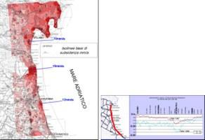 Fig.3 Distribuzione della subsidenza nella costa emiliano romagnola per il periodo 1992-2000 in base all'elaborazione di dati di Interferometria satellitare tipo SAR e diagramma degli abbassamenti misurati lungo il litorale nei periodi 1984-87 e 1984-99 tramite livellazione topografica. Tratti da ARPA (2003).