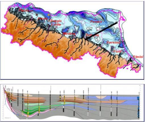 Cartografia dello spessore del gruppo acquifero più sfruttato nel sottosuolo della pianura (Gruppo Acquifero A)