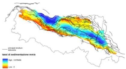 Distribuzione della velocità di accumulo del sedimento calcolato per gli ultimi 600.000 anni di evoluzione della Pianura