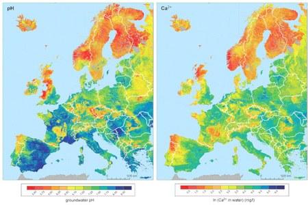 Una mappa europea del pH e del calcio delle acque sotterranee