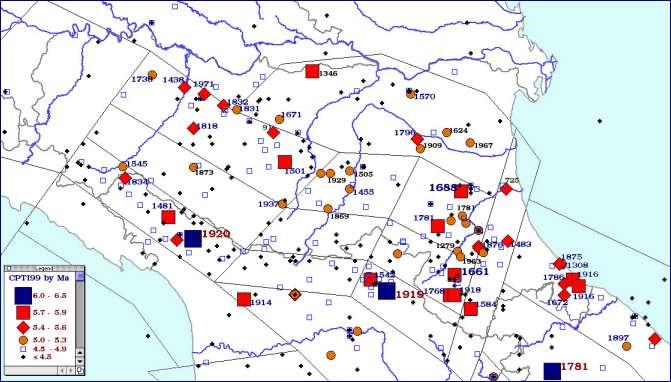 Carta degli epicentri dei terremoti della Regione Emilia-Romagna per classi di magnitudo (CPTI, 1999)