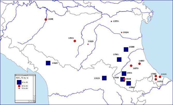 """Vengono riportate le rappresentazioni cartografiche dei campi macrosismici (quali """"piani quotati in intensità"""") dei terremoti sopraelencati, anche per un confronto relativo tra gli stessi"""