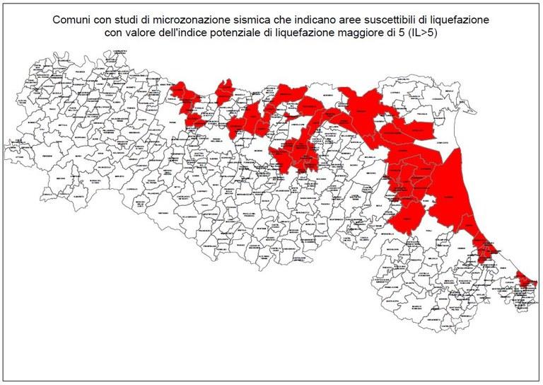 Comuni con studi di microzonazione sismica che indicano aree suscettibili di liquefazione 2020