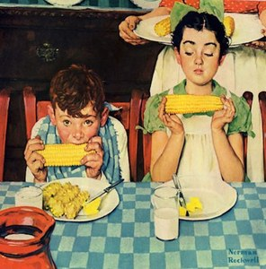 Norman Rockwell. Who's Having More Fun (Kids Eating Corn)