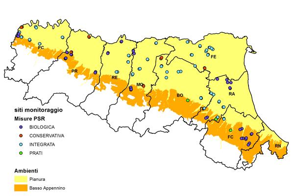 Distribuzione dei siti di monitoraggio in funzione delle misure del PSR