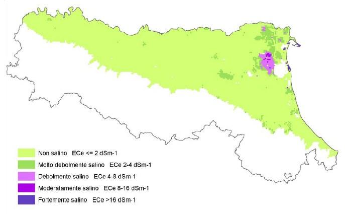Carta della salinità dei suoli della pianura emiliano-romagnola, strato 0-50 cm, di prima approssimazione