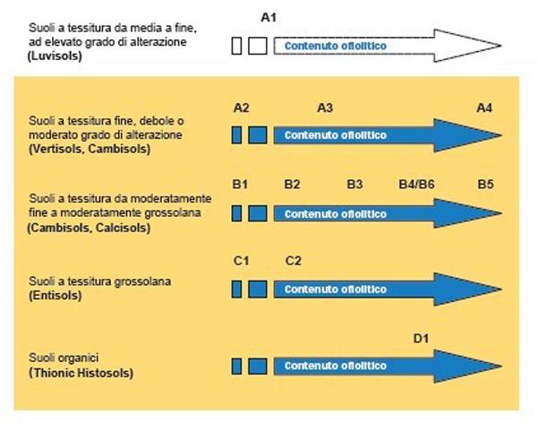 Figura 2.  Schema concettuale delle Unità Genetico funzionali: le lettere indicano la tessitura, i numeri crescenti l'entità del contributo ofiolitico. I suoli dell'UGF A1 sono gli unici ad elevato grado di alterazione.