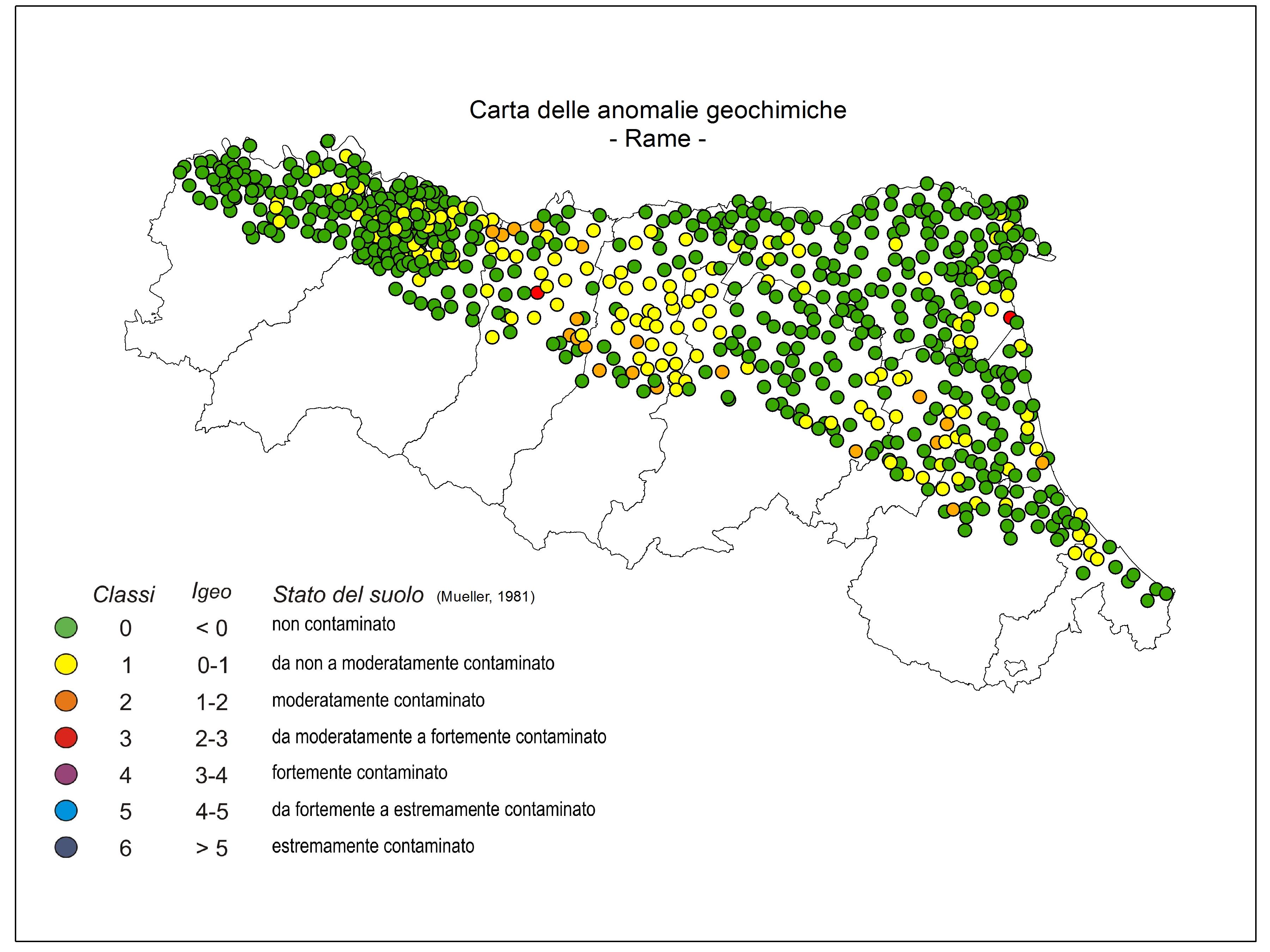 Carta anomalie geochimiche Cu