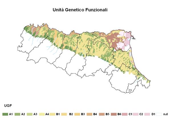 Figura 2 Distribuzione spaziale delle UGF nella pianura emiliano-romagnola