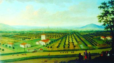 Anonimo Fiammingo (metà del XVIII sec.). Azienda agricola nella pianura bolognese. Cassa di Risparmio in Bologna - Collezioni d'Arte e di Storia