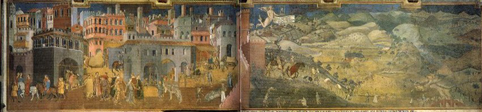 Ambrogio Lorenzetti, Effetti del buon governo, Siena, Palazzo Comunale (1349)