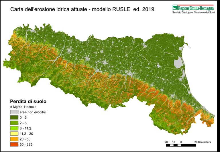 Carta dell'erosione idrica attuale - modello RUSLE ed. 2019